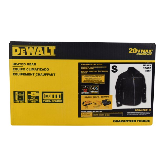 DEWALT DCHJ072 Heated Soft Shell Jacket Kit with 2.0Ah Battery and Charger (S)