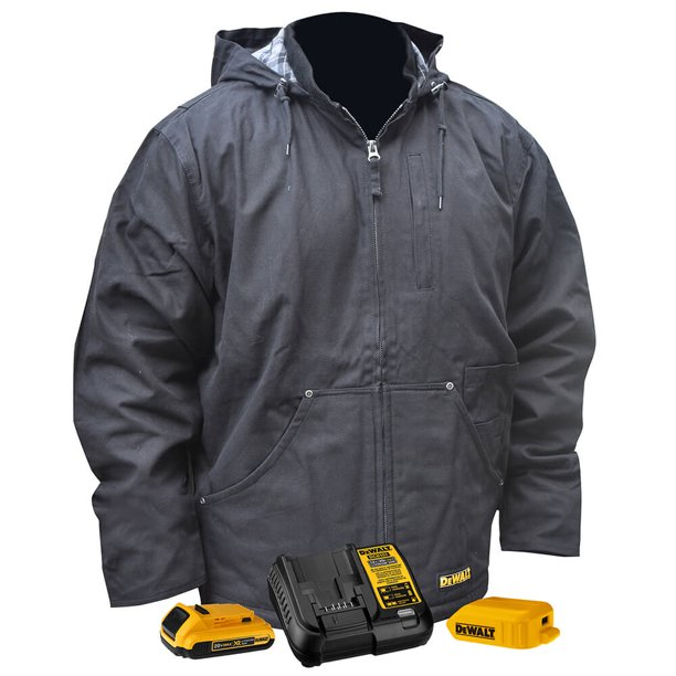 DeWALT DCHJ076ABD1-XL 20-Volt Heated Heavy Duty Work Coat Kit, Black - XL