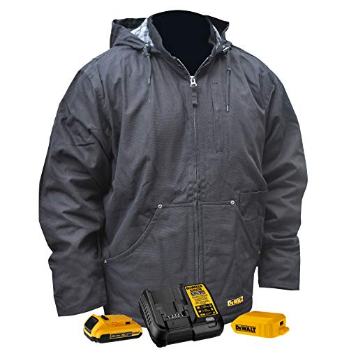 DEWALT Heated Heavy Duty Work Coat Kit with 2.0Ah Battery and Charger - SMALL