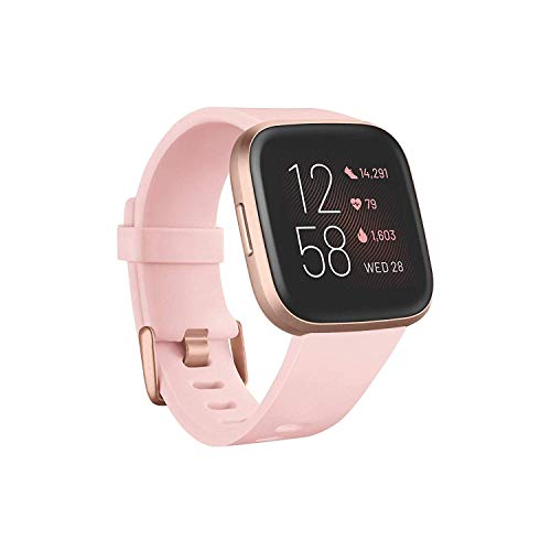 Fitbit Versa 2 Health and Fitness Smartwatch - Petal/Copper Rose, One Size (S and L Bands Included)