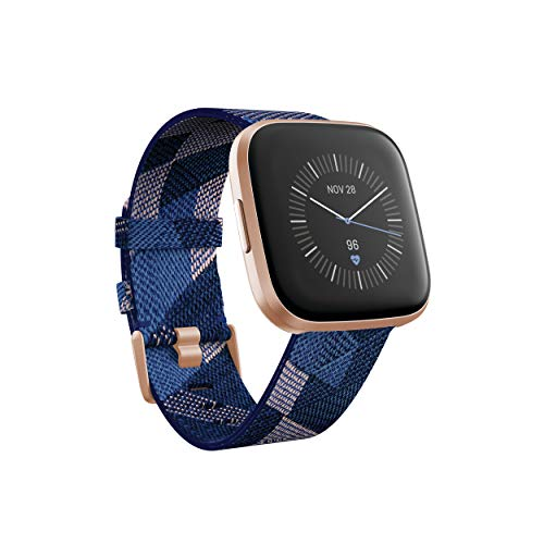 Fitbit Versa 2 Special Edition Health and Fitness Smart Watch - Navy and Pink Woven/Copper Rose, One Size (S and L Bands Included), 2.3