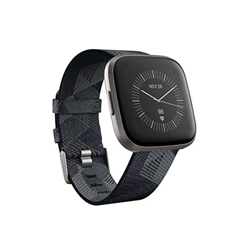 Fitbit Versa 2 Special Edition Health and Fitness Smartwatch - Smoke Woven/Mist Grey, One Size (S and L Bands Included)