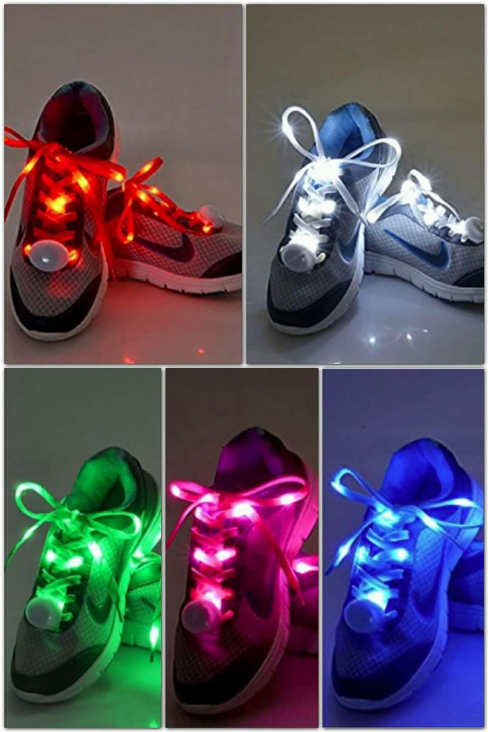 Flammi LED Nylon Shoelaces Light Up Shoe Laces with 3 Modes in 5 Colors Disco Flash Lighting the ...