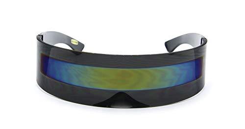 Futuristic Shield Sunglasses - BLACK + YELLOW