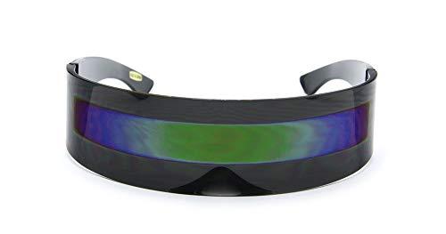 Futuristic Shield Sunglasses Monoblock - BLACK + GREEN STRIPE