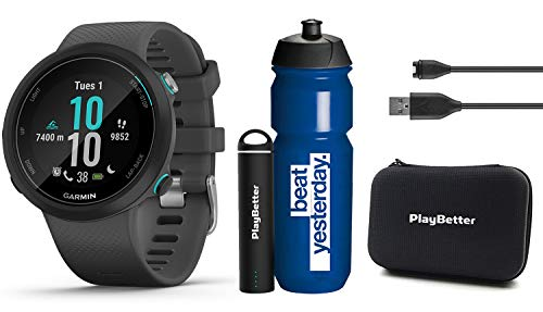 Garmin Swim 2 (Slate) GPS Swimming Smartwatch Premium Gift Set Bundle | with Garmin Water Bottle, Protective Hard Case & PlayBetter Portable Charger | Underwater HR, Pool Swim & Open Water Mode