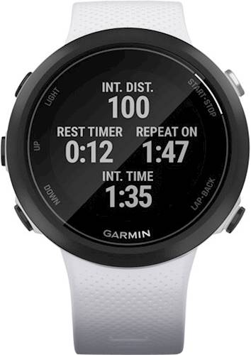 Garmin - Swim 2 Smartwatch 42mm Fiber-Reinforced Polymer - Whitestone With Silicone Band