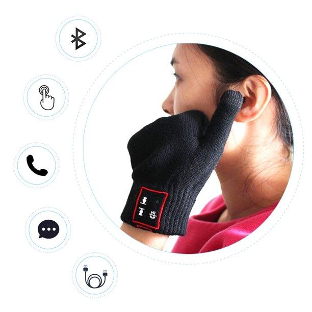 Jeobest Touch Screen Gloves - Bluetooth Gloves - Winter Glove with Touch Screen - Wireless Bluetooth Talking Glove Touch Screen Knit Winter Talking Gloves Bluetooth for Talking & Music Listening