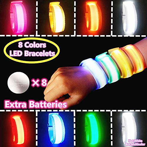 LED Wristband, Light Up Bracelets LED Armbands,, Flashing Sports Wristband Pack of 8 Glow in The Dark Party Supplies for Concerts, Festivals, Sports, Parties, Night Events