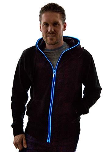 NEON NIGHTLIFE Light Up Hoodie Jacket Sweatshirt, Large, Blue