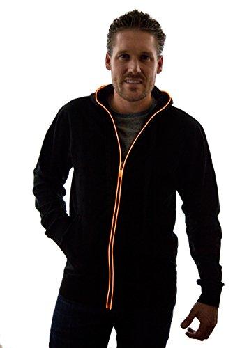 NEON NIGHTLIFE Light Up Hoodie Jacket Sweatshirt, Large, Orange