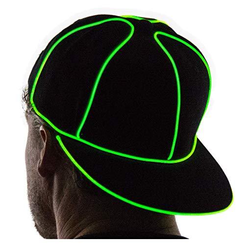 NEON NIGHTLIFE Light Up Snapback Hat - GREEN