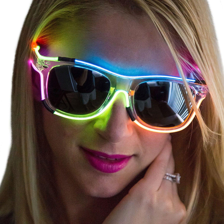 Neon Nightlife Rainbow Frame/Slightly Tinted Lens Wayfarer ...