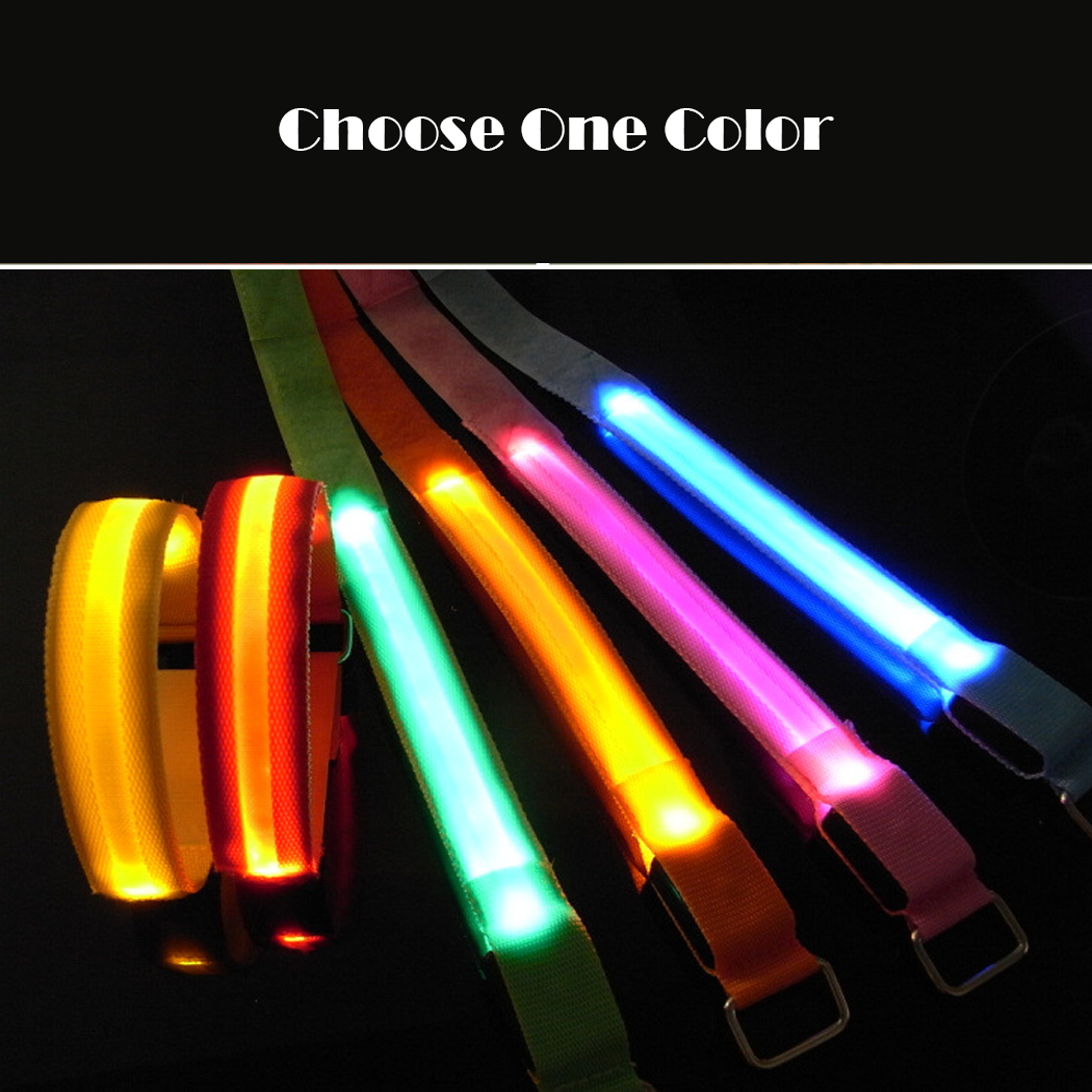 New Flashing LED Safety Night Reflective Belt Strap Arm ...