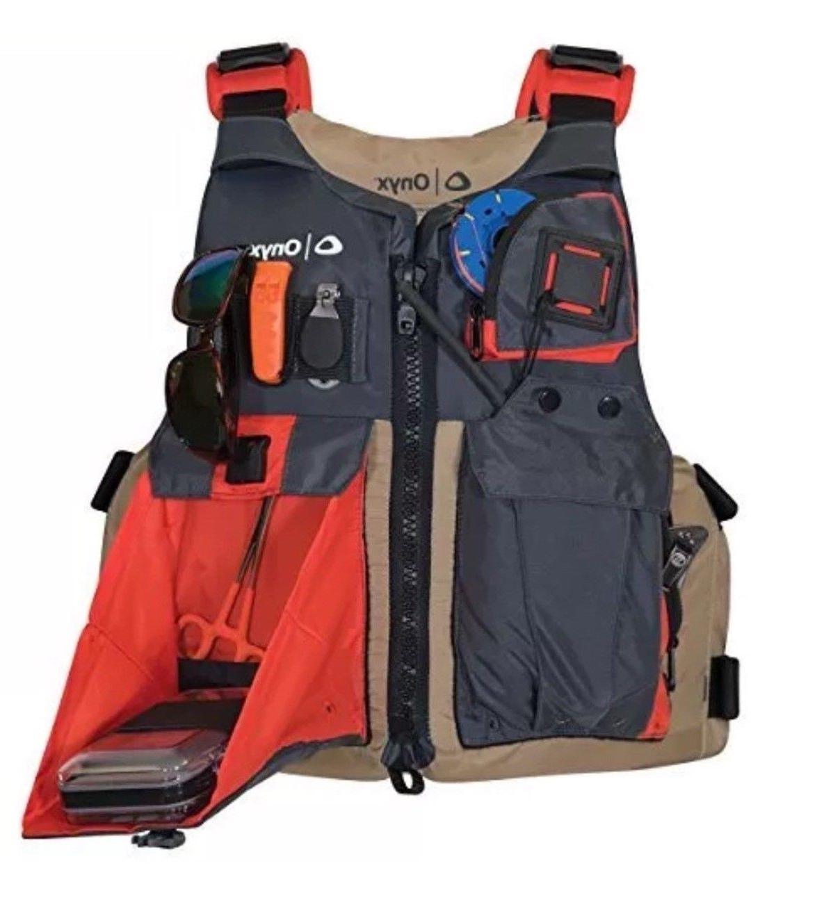 ONYX Kayak Fishing Life Jacket, One Size, Tan.