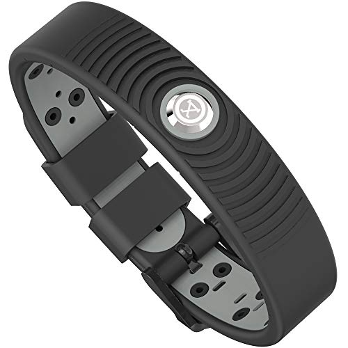 ProExl 18K Sports Magnetic Bracelet - Waterproof - Breathable Strap - Super Strength - Arthritis Relief (Black Gray)