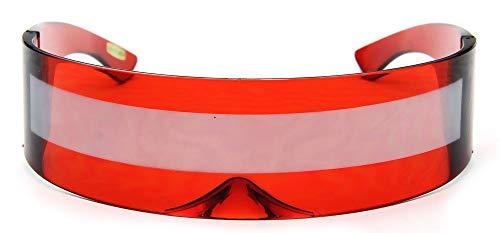 Red Silver Shield Sunglasses Futuristic - RED