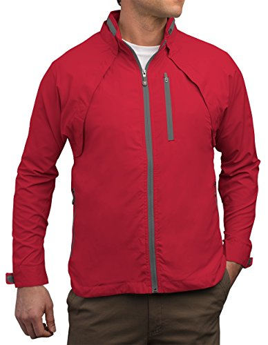 SCOTTeVEST Tropiformer Jacket - RED - Rain Jackets Men, Travel Clothing, Windbreaker