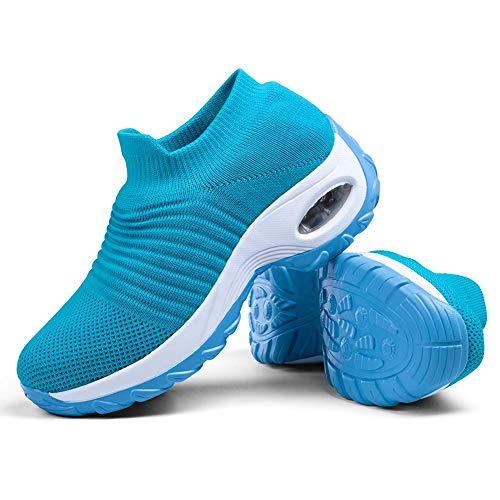 Slip-on Breathe Mesh Walking Shoes Women's Fashion Sneakers Comfort Work Nursing Wedge Platform Loafers Light Blue,5.5