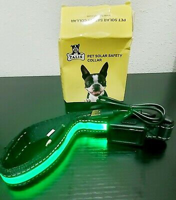 Talis Light Up Dog Collar Solar & USB rechargeable LED collar (SMALL, GREEN)