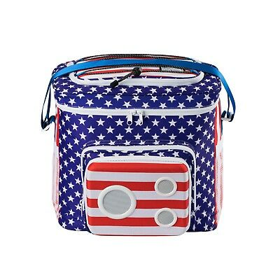 THE #1 Cooler with Speakers. 15-Watt Bluetooth Speakers & Subwoofer (US Flag)