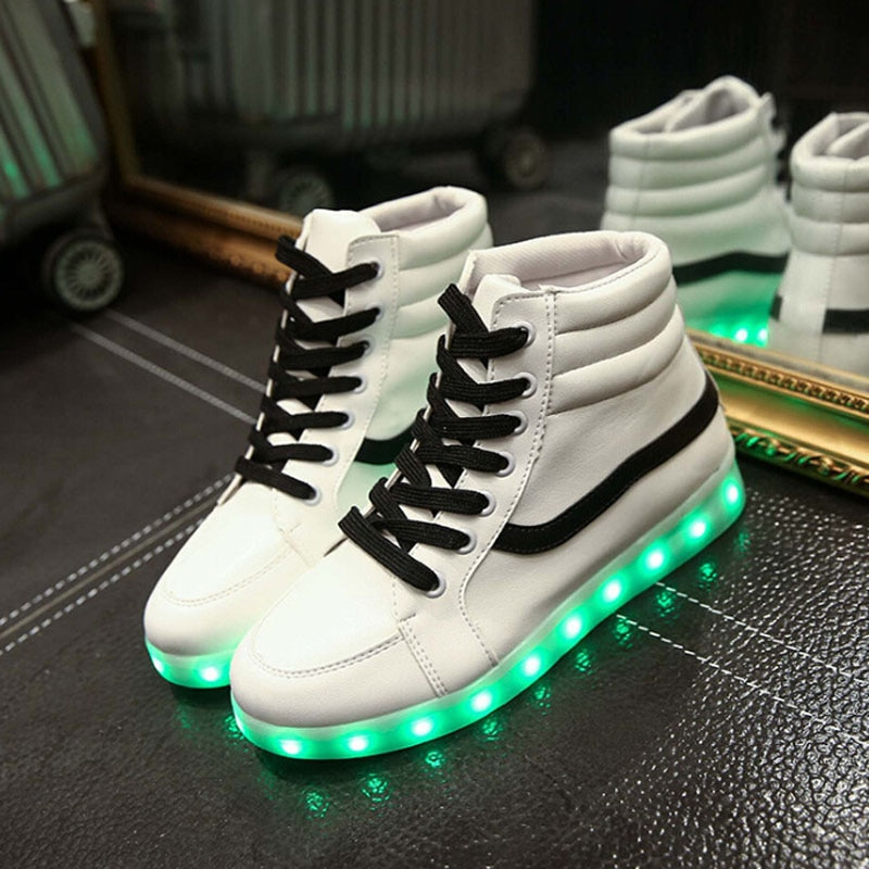 Unisex Yeezy Fashion LED Light Up Shoes for Lovers Leather ...