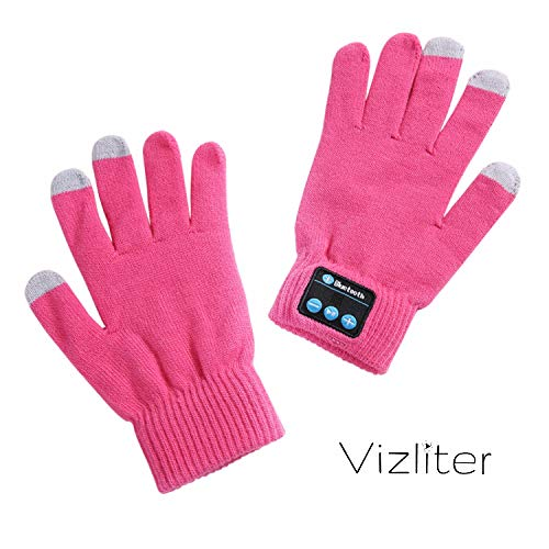 Vizliter Wireless Bluetooth Gloves, Winter Gloves, Wireless Bluetooth Talking Touchscreen Gloves, Smart Gloves for Outdoor Sports with Built-in Mic, Unique Tech Gifts, Rechargeable, Volume Control