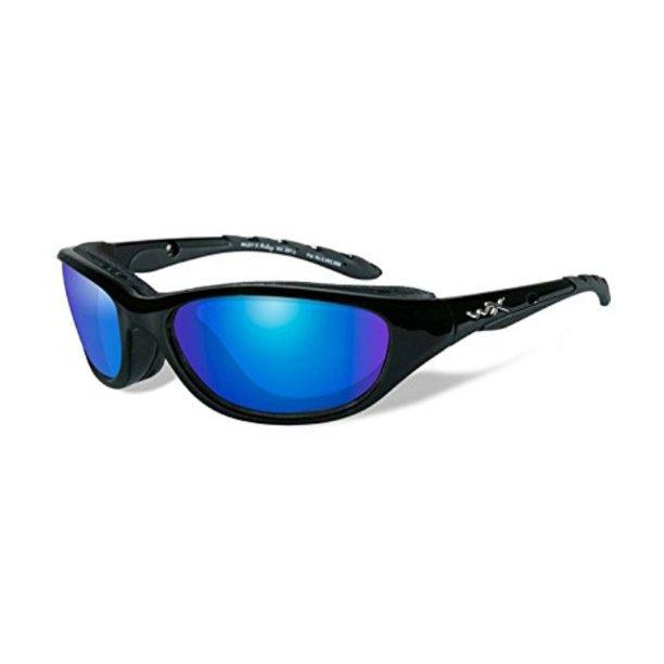 wiley x airrage sunglasses, polarized blue mirror, gloss black