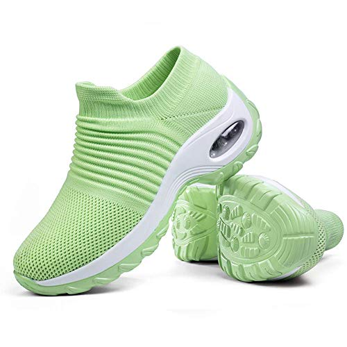 Women's Walking Shoes Sock Sneakers - Mesh Slip On Air Cushion Lady Girls Wedge Jazz Dance Easy Shoes Platform Loafers Green,5.5