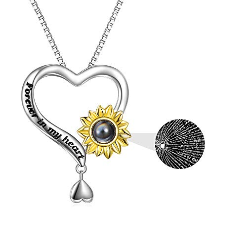 925 Sterling Silver Sunflower Necklace I Love You 100 Languages Necklace Heart Pendant I Love You Forever Necklace for Women