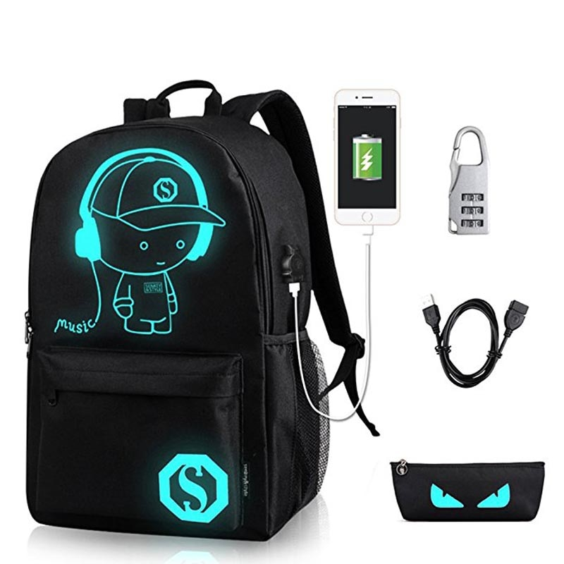 Anime Luminous School Backpack For Boy Student Daypack Shoulder Under 15.6 inch with USB ...