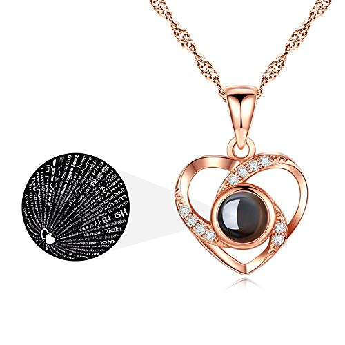 ASELFAD Wedding Anniversary Gifts for Wife from Husband I Love You Necklace 100 Languages 925 Sterling Silver Love Heart Necklaces for Women Mothers Day Jewelry Birthday Gifts for Her (Rose Gold Heart)