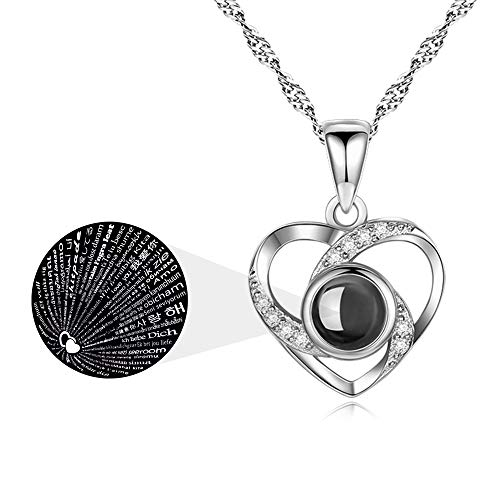 ASELFAD Wedding Anniversary Gifts for Wife from Husband I Love You Necklace 100 Languages 925 Sterling Silver Love Heart Necklaces for Women Mothers Day Jewelry Birthday Gift (Silver Heart)