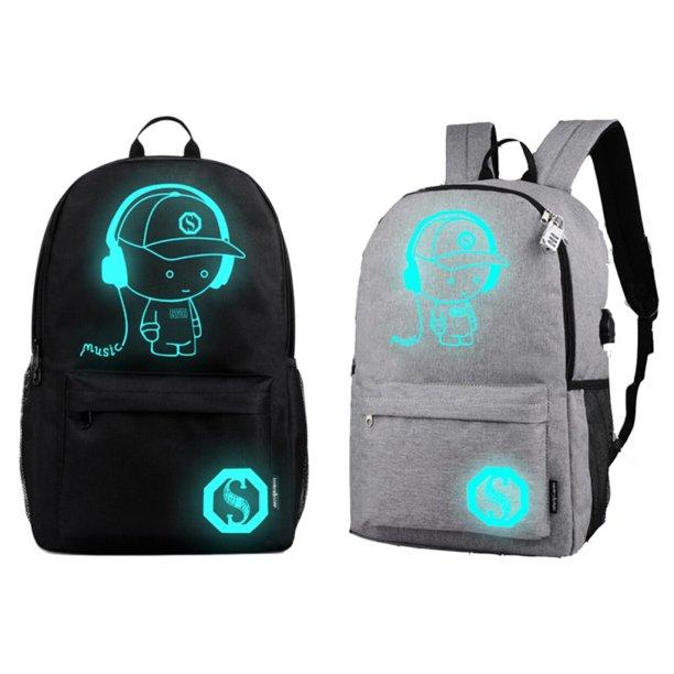 ENJOY USB Charge Cool Boys School Backpack Luminous School Bag Music Boy Backpacks Black