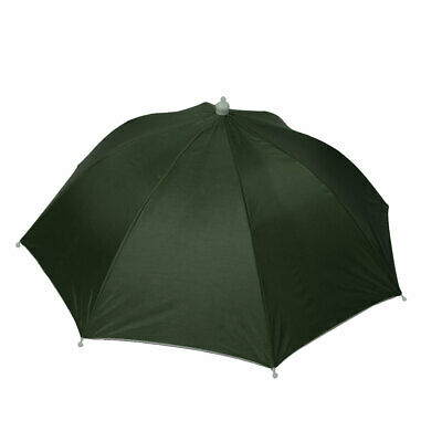 Fishing Headband Dark Green Polyester Canopy Umbrella Hat Cap