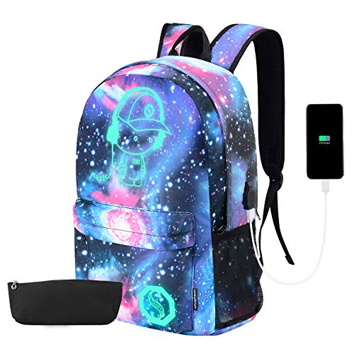 Galaxy Backpack, Anime Luminous Backpack Lightweight Laptop Backpack Fashion School Bags Daypack with USB Charging Port, Pen Case and Lock for Teens Girls Boys