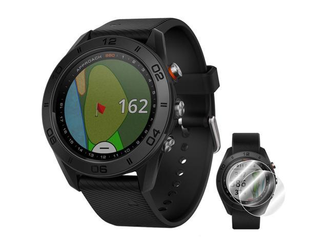 Garmin Approach S60 Golf Watch Black with Black Band + Screen Protector 2 Pack