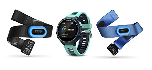 Garmin Forerunner 735XT Tri-Bundle, Multisport GPS Running Watch with Heart Rate, Includes HRM-Tri and HRM-Swim Monitor, Midnight/Frost Blue
