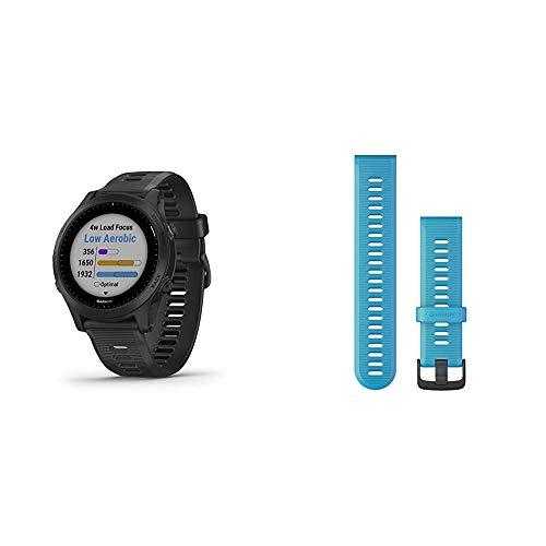 Garmin Forerunner 945, Premium GPS Running/Triathlon Smartwatch with Music, Black Bundle with Garmin Forerunner 945 Replacement Band - Blue