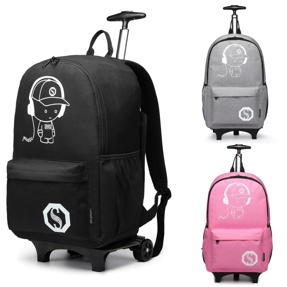 Miss Lulu Rolling School Bag for Boys Girls Anime Luminous Backpack Men Women Wheeled Laptop ...