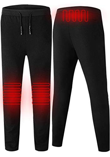MOHUI Heated Pants Men Warm Trousers Winter USB Smart Thermostat Rechargeable Cycling Skiing (Black, L)