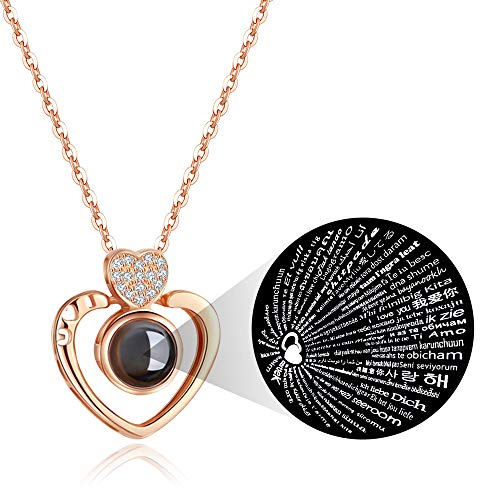 PAERAPAK I Love You Necklace - 100 Languages I Love You Double Heart Projection Necklace for Women Love Memory Pendant Necklace Best Gift for Lover