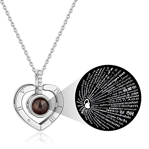 PAERAPAK I Love You Necklace - 100 Languages I Love You Love Heart Projection Necklace for Women Love Memory Pendant Necklace Best Gift for Lover