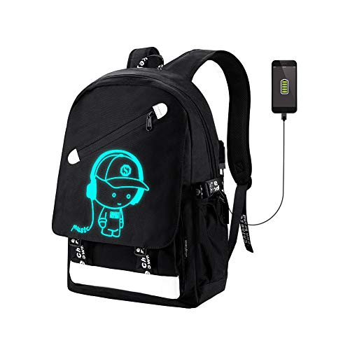 School Backpack Bookbag SKL Anime Cartoon Backpack Luminous Casual Daypack with USB Charging Port