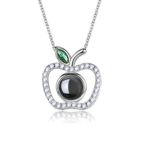 SIHUPANG S925 Sterling Silver Necklace Projection Memory 100 Languages to Express I Love You Creative Gift Necklace for Women and Girls