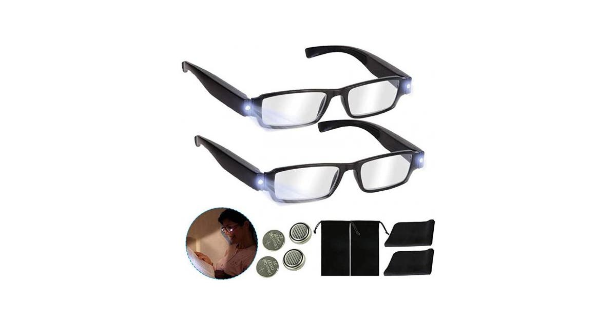 (+200, Black) - Bright LED Readers with Lights Reading ...