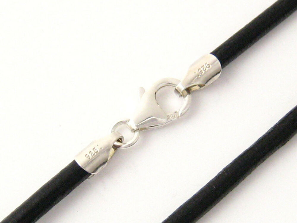 4mm Black Round Leather Cord Necklace Choker 925 Sterling ...