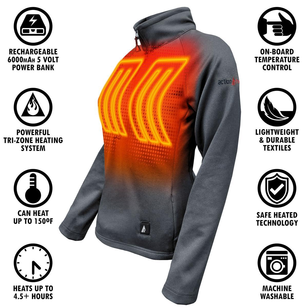 ActionHeat 5V Battery Heated 1/2 Zip Pullover Shirt ...