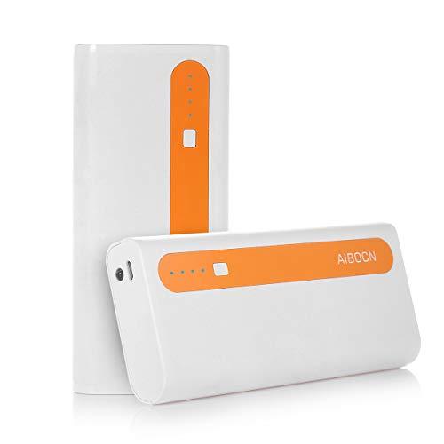 Aibocn Power Bank 10,000mAh External Battery Charger (White-Orange)
