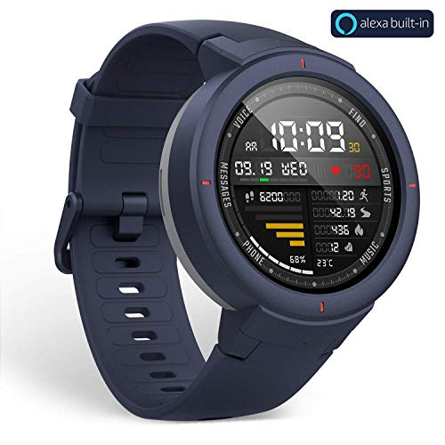 Amazfit Verge Smartwatch with Alexa Built-in, GPS Plus GLONASS All-Day Heart Rate and Activity Tracking, 5-Day Battery Life, Ability to Make and Answer Phone Calls, Ip68 Waterproof, A1811 Blue